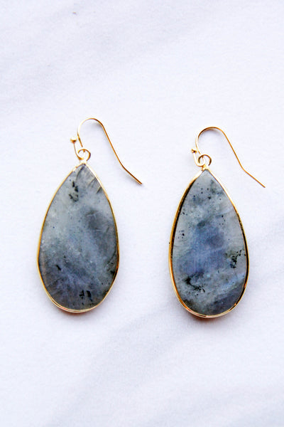 Grey Tear drop Statement Earrings