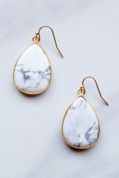 Small Marble Tear drop Earrings