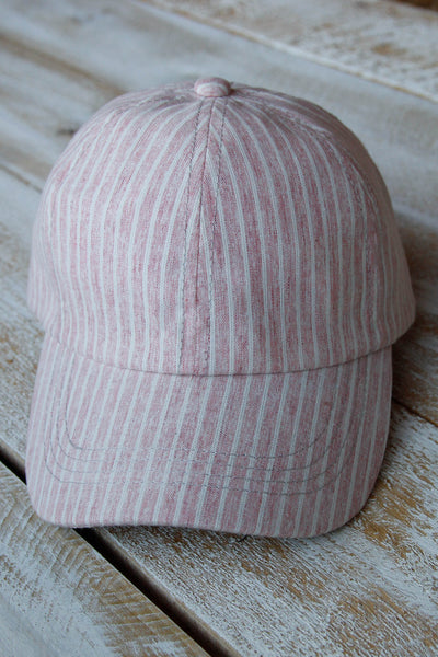 Pink Striped Baseball Hat