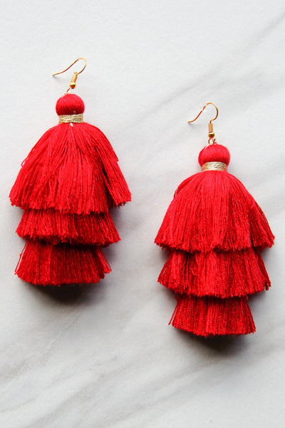 Red and Gold Fringe Earrings