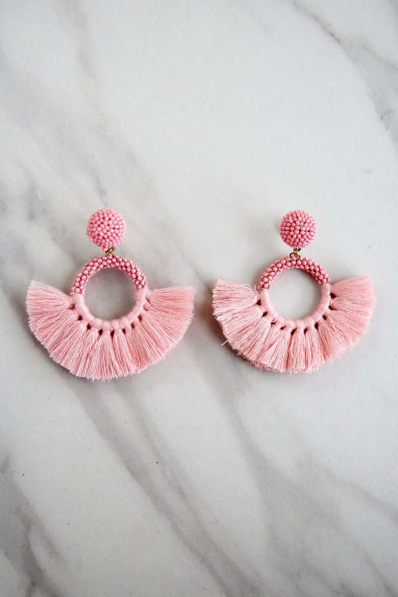 Beaded Fanfare Earrings - Pink