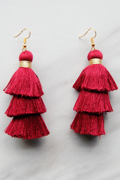 Crimson and Gold Fringe Earrings