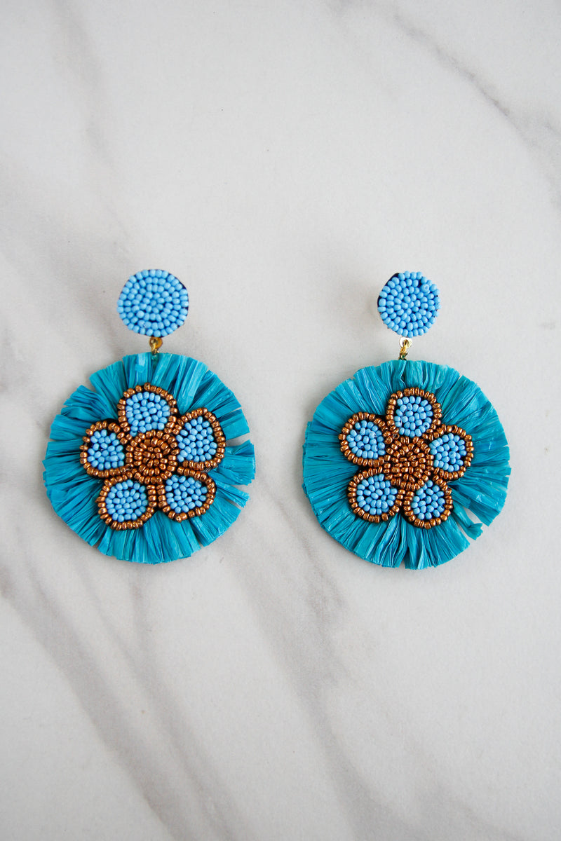 Rocking Raffia Earrings - Teal