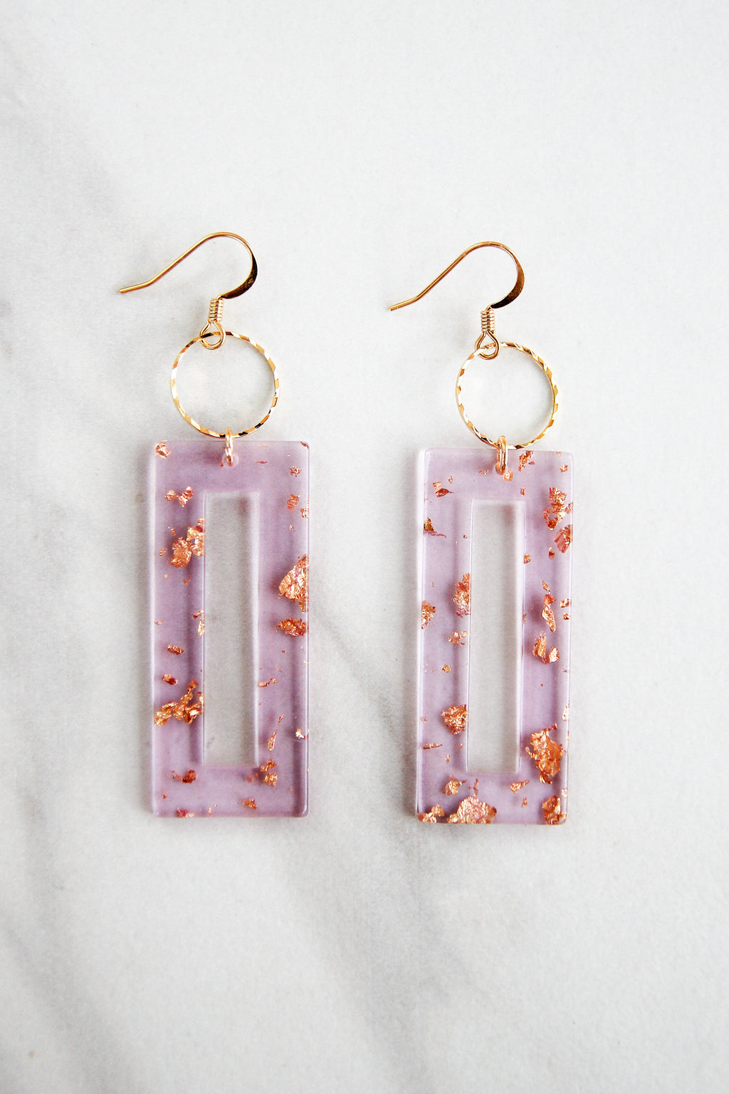 Gold Leaf Acrylic Drop Earrings - Lavender