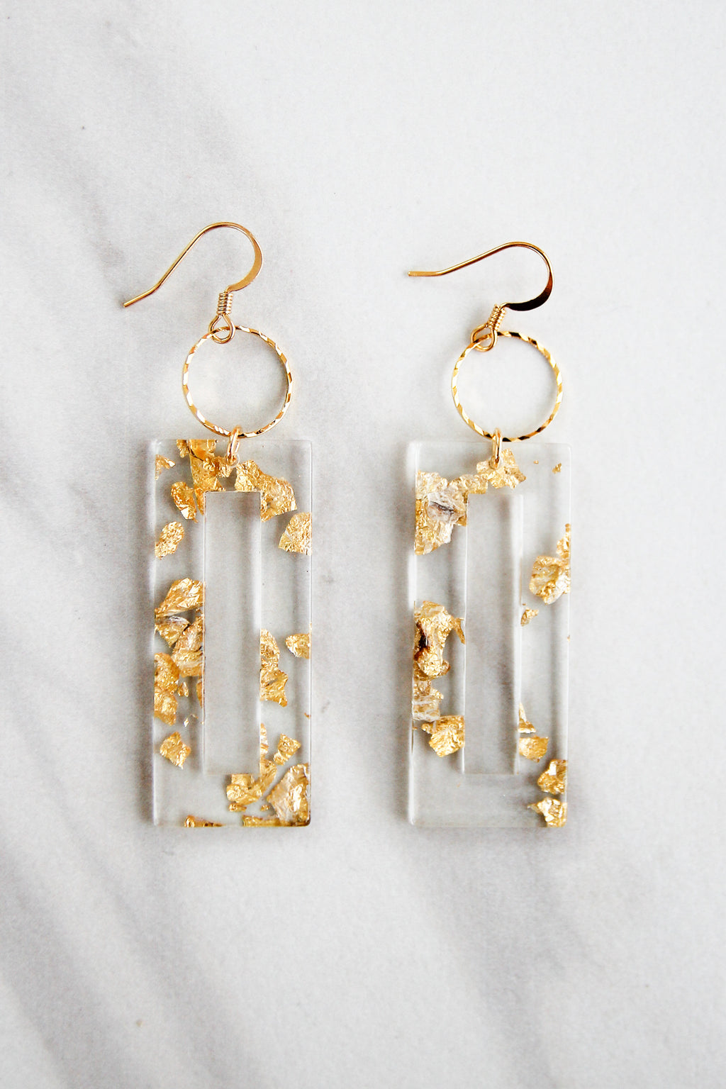 Gold Leaf Acrylic Drop Earrings - Clear