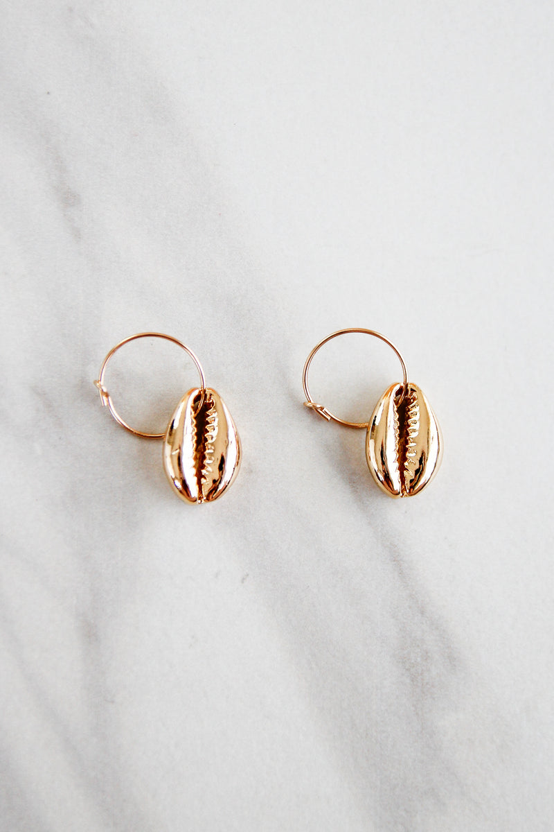 September Seashells Hoops - Gold