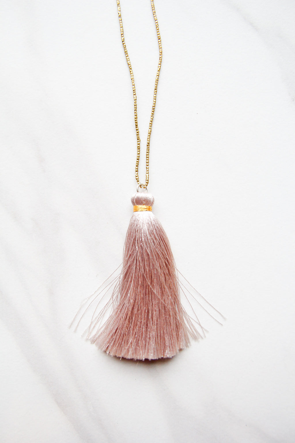 Taupe Tassel It Up Necklace