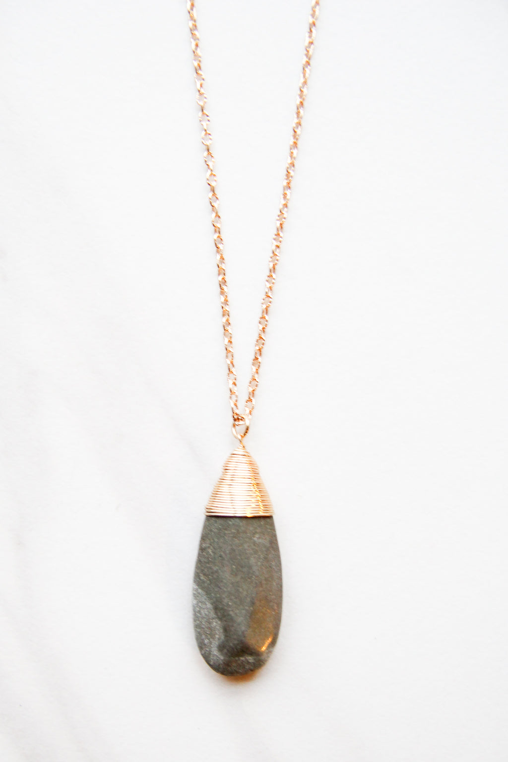 Grey Teardrop Metal Wrapped necklace