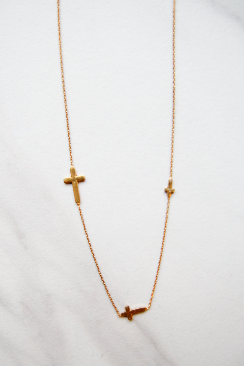 Gold Triple Cross Necklace