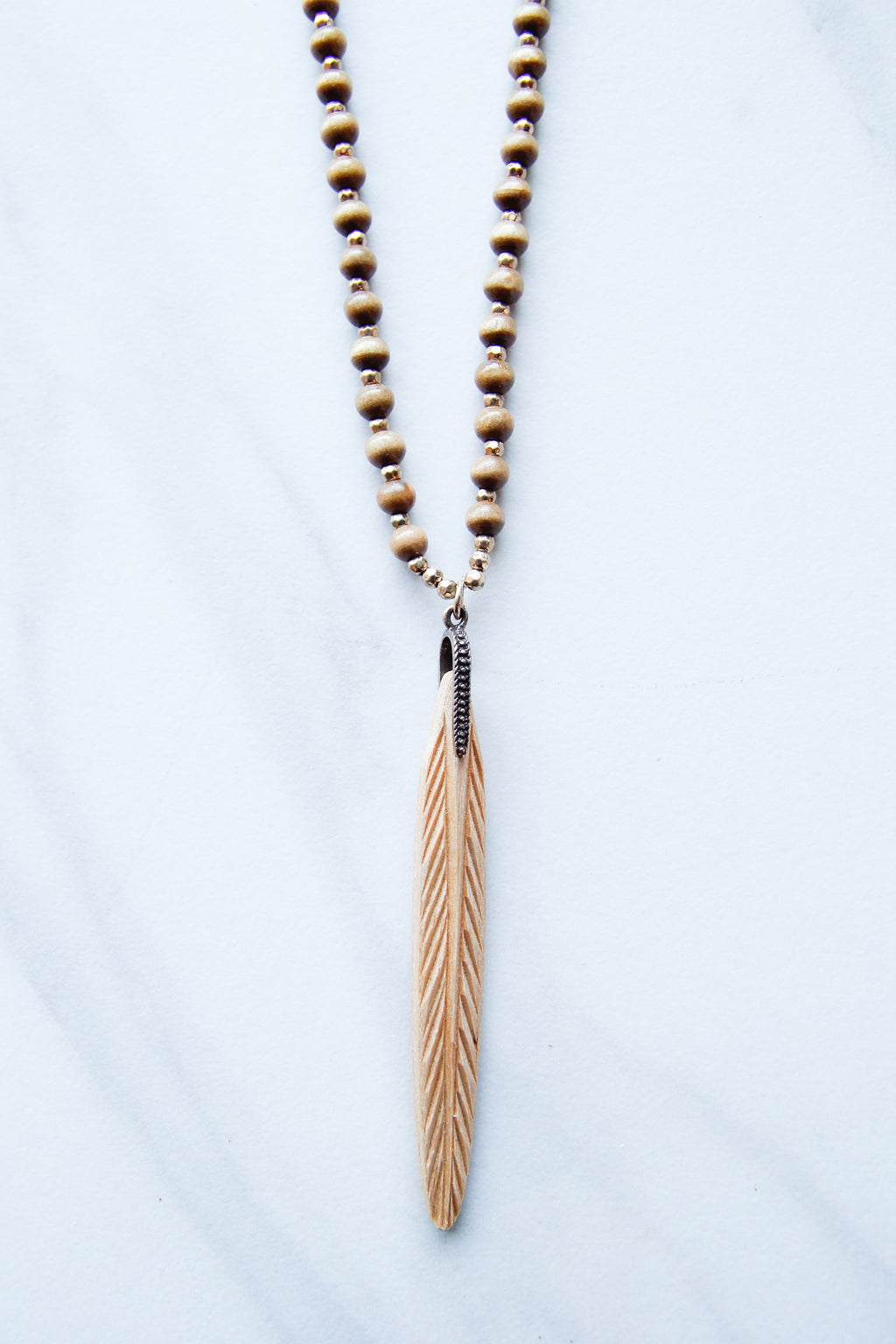 Wooden Beaded Feather necklace