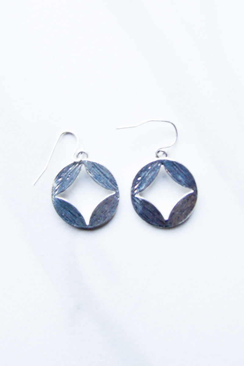Silver Coin eyelet Earrings