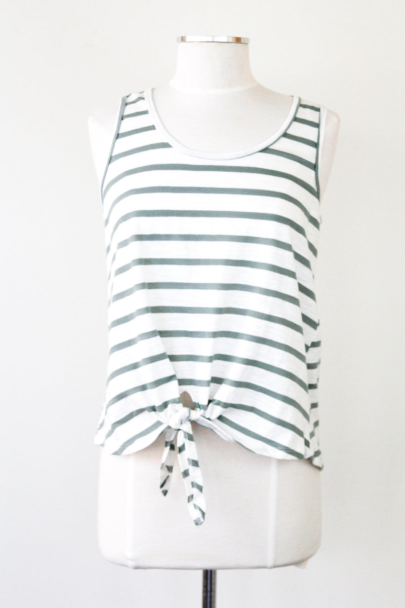 Olive Striped Knot Tank Top