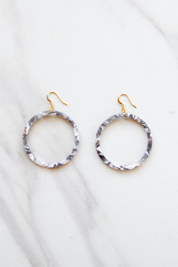 Acrylic Dangle Hoops- Grey Marble