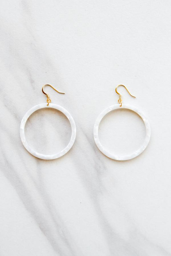 Acrylic Dangle Hoops - Ivory