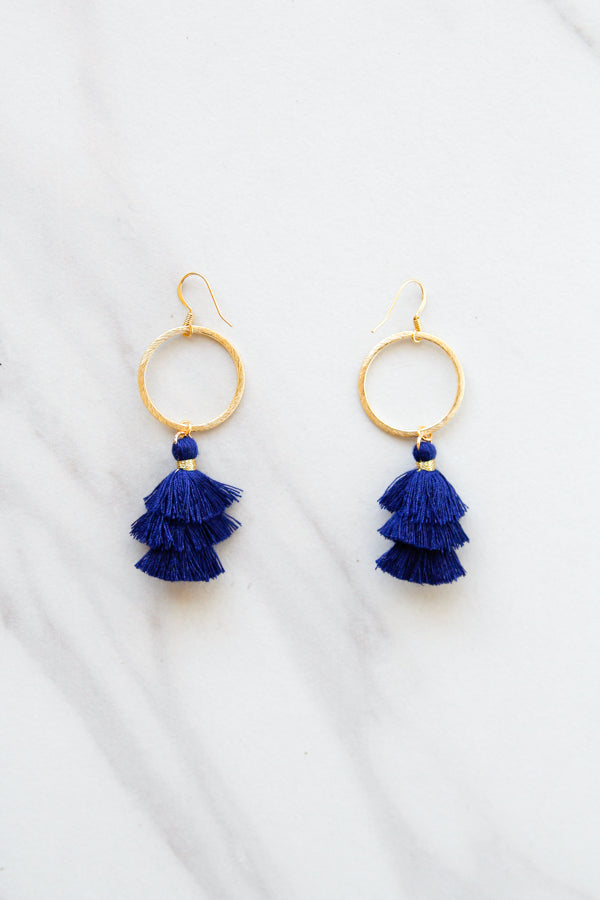 Cierra Tassel Hoop Earrings- Navy