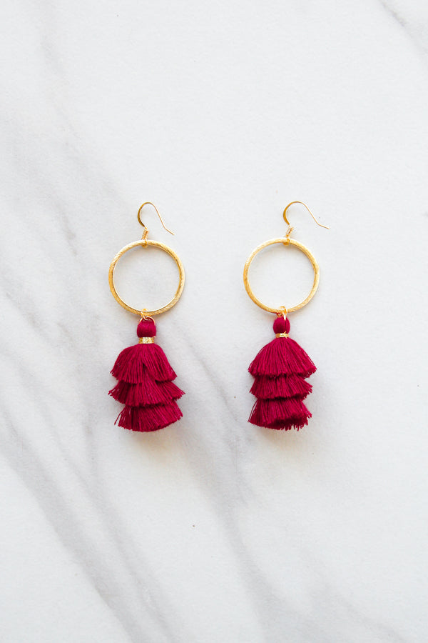 Cierra Tassel Hoop Earrings- Crimson