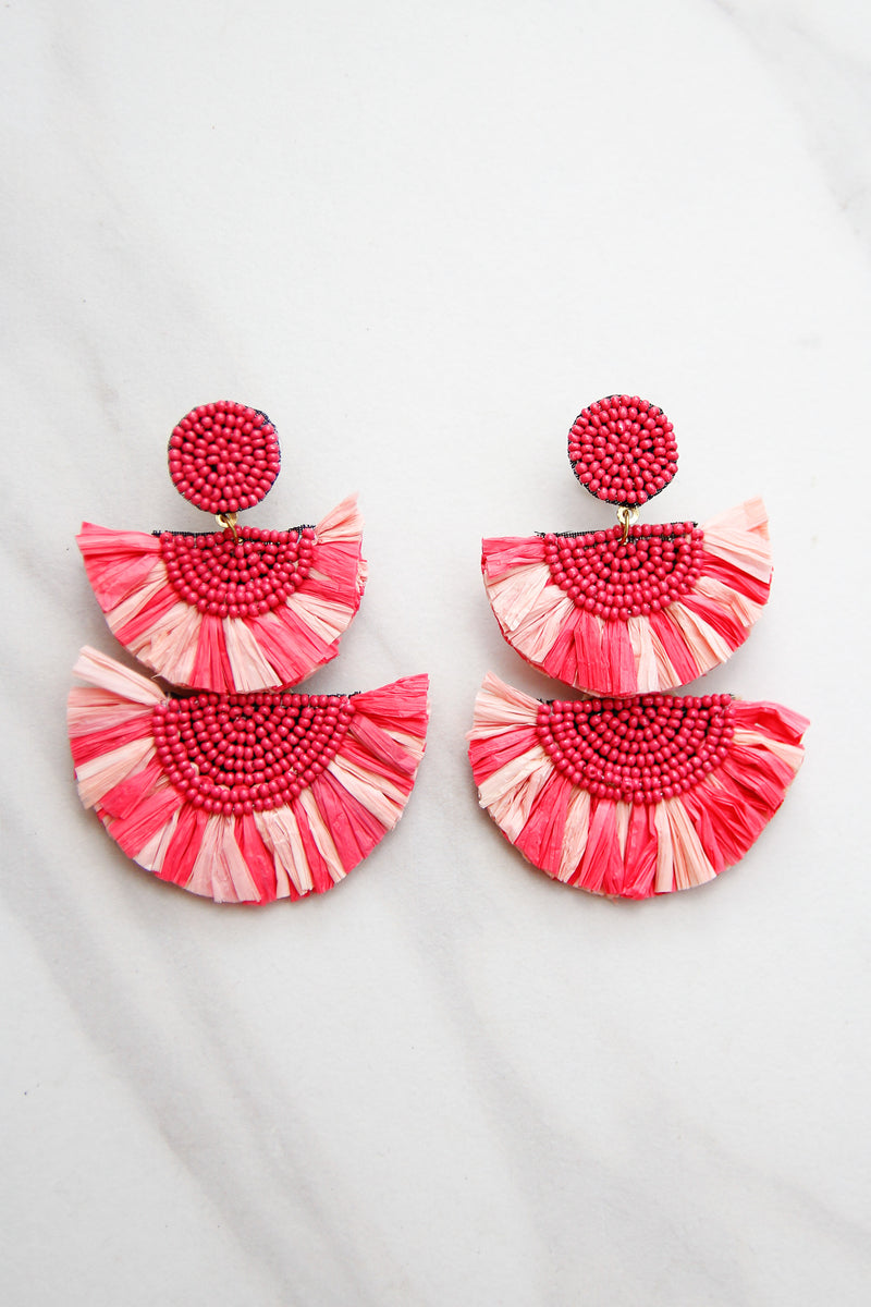 Winter Break Escape Earrings - Pink