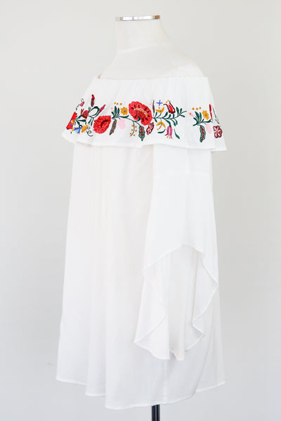 White Chiffon Flipped Bottom Cold Shoulder Blouse