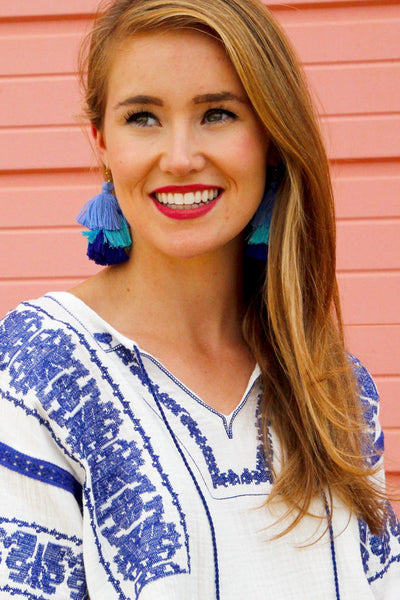 Blue Crush Fringe Drop Earrings