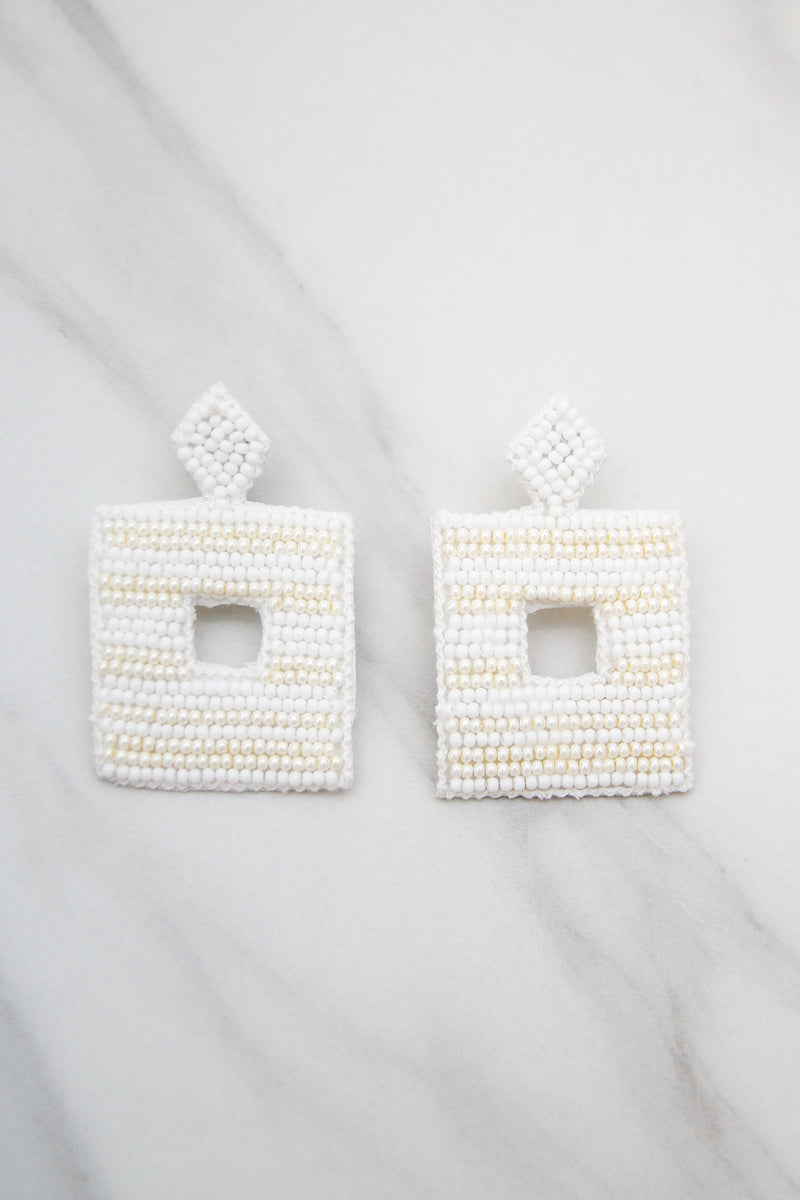 Let's Be Square Earrings - White