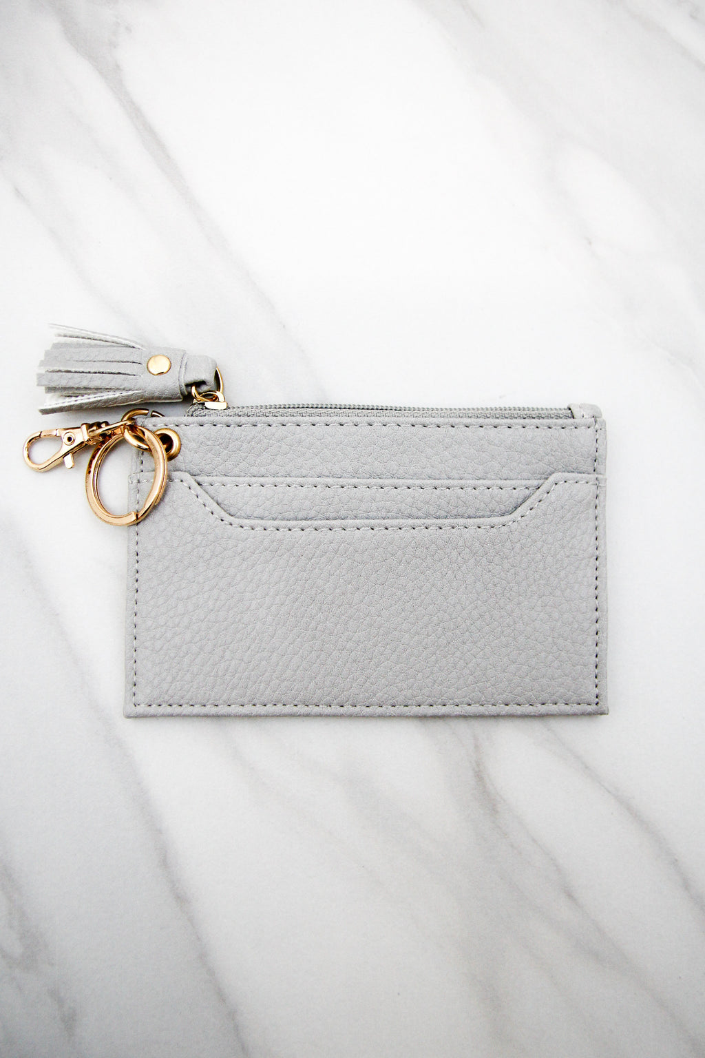 Pebbled Leather Keychain Wallet - Grey