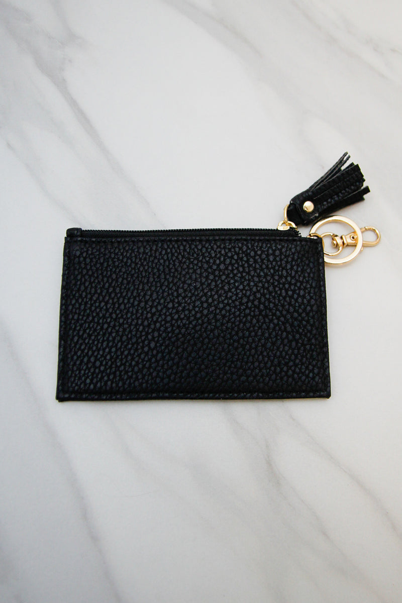 Pebbled Leather Keychain Wallet - Black
