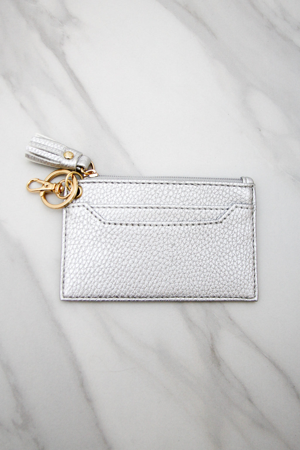 Pebbled Leather Keychain Wallet - Silver