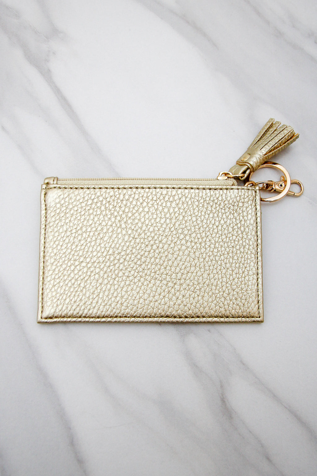 Pebbled Leather Keychain Wallet - Gold