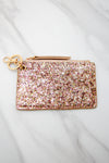 Glitter Keychain Wallet - Rose Gold
