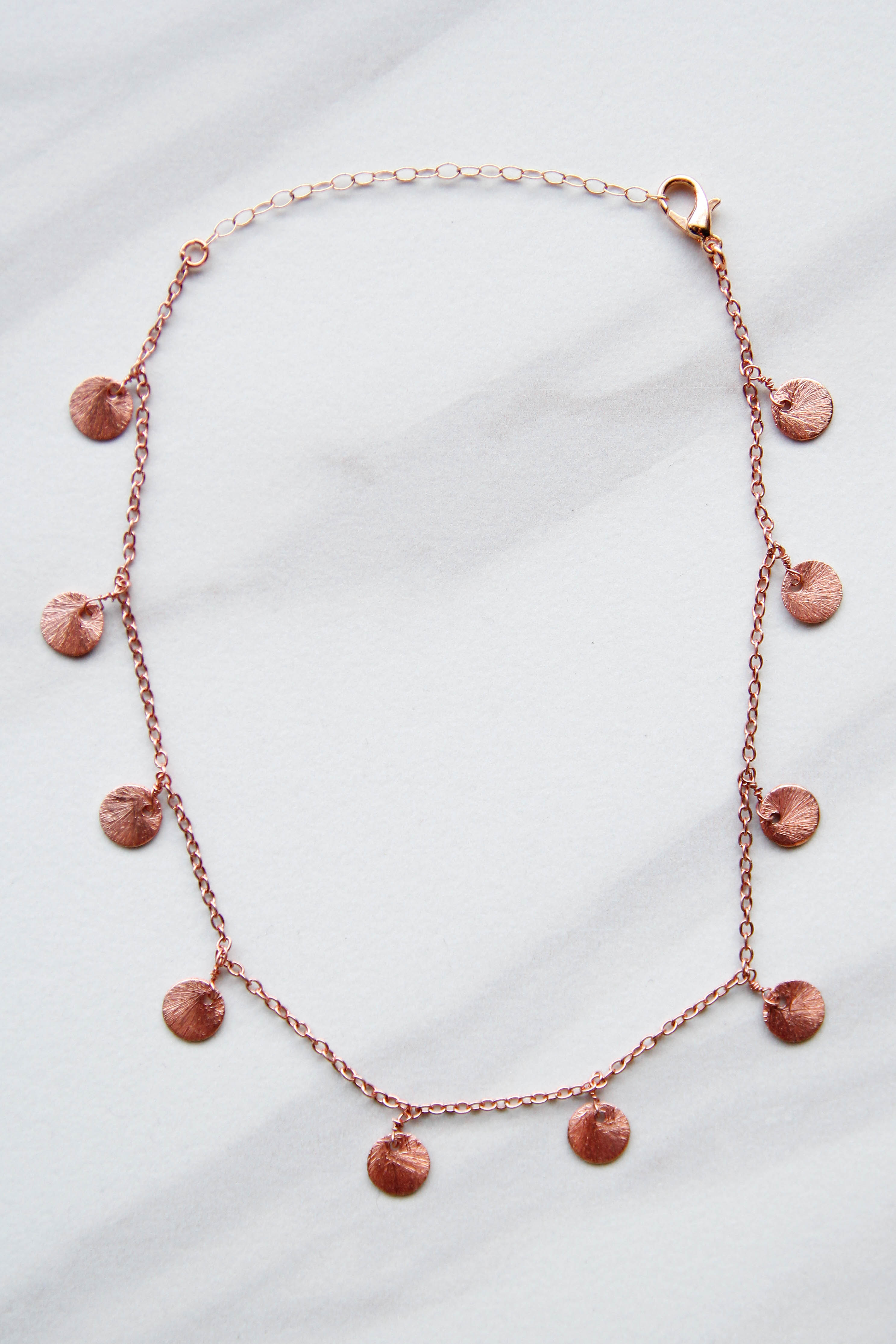 Rose Gold Disc Drop Necklace The Impeccable Pig