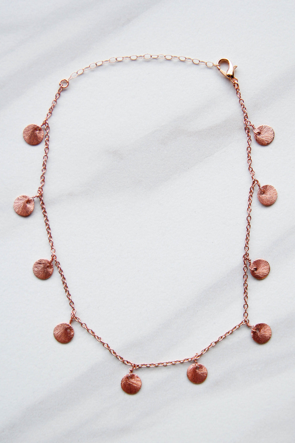 Rose Gold Disk Drop Necklace
