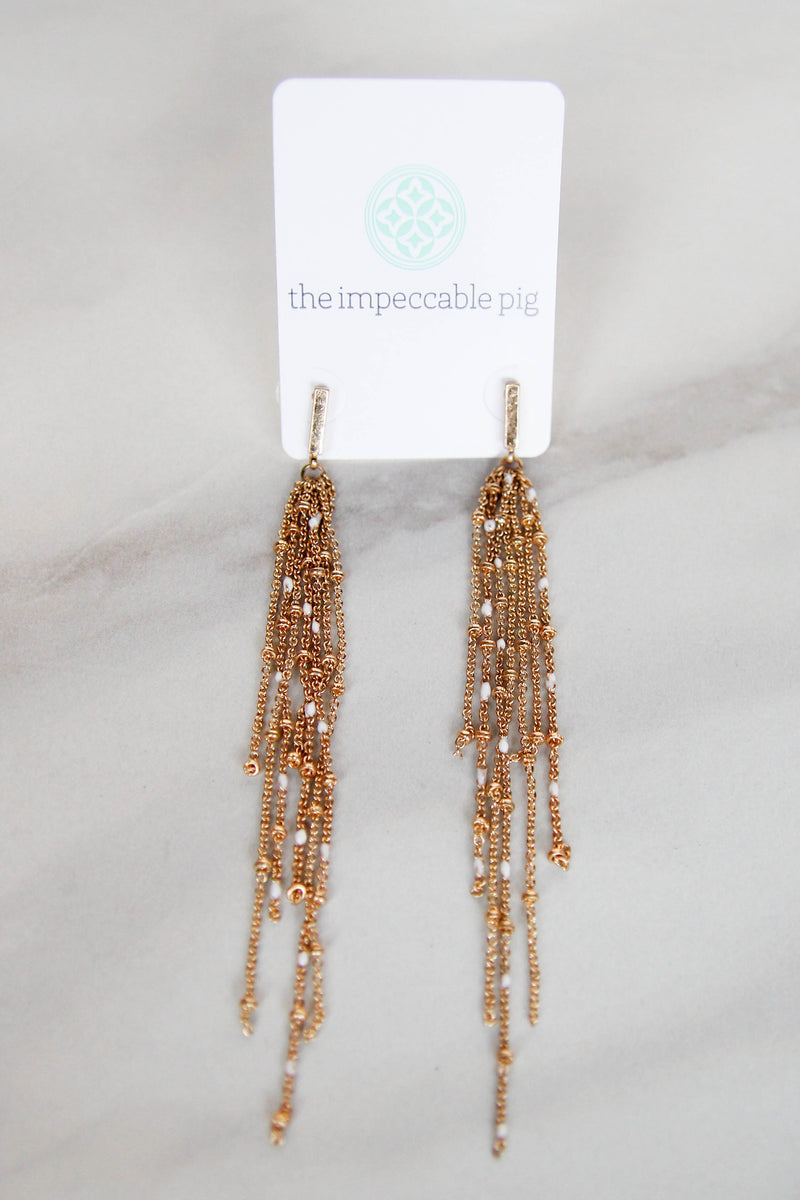 Gold Dainty Tassel Earrings - White