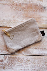 Small canvas Clutch - Spotted Suede