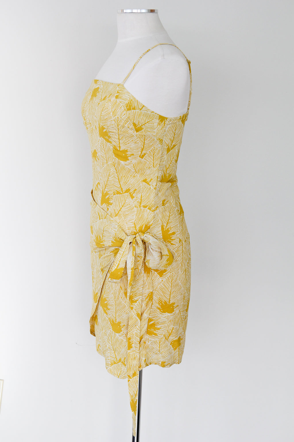 Unbe-leaf-able Mustard Wrap Dress