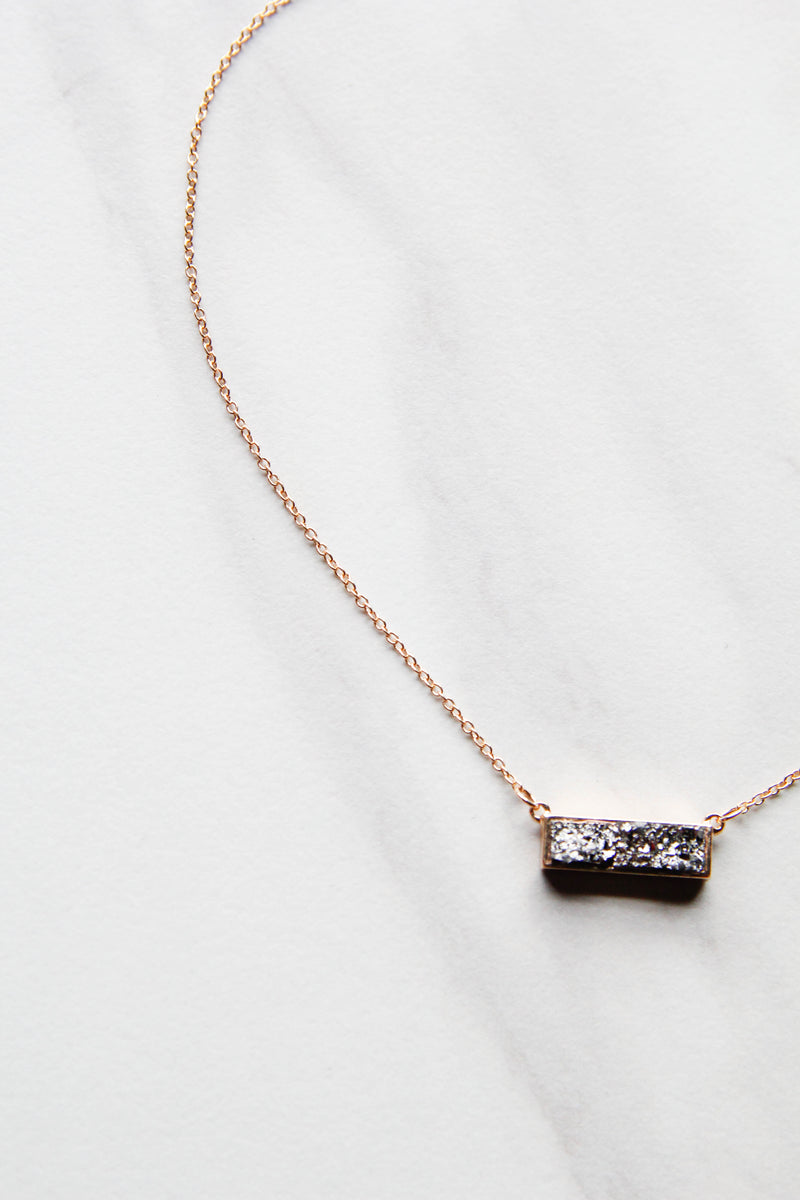 Charcoal Druzy Bar Necklace