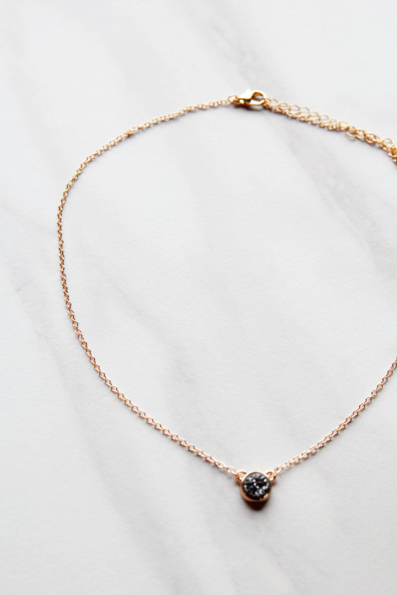Charcoal Dainty Druzy Necklace