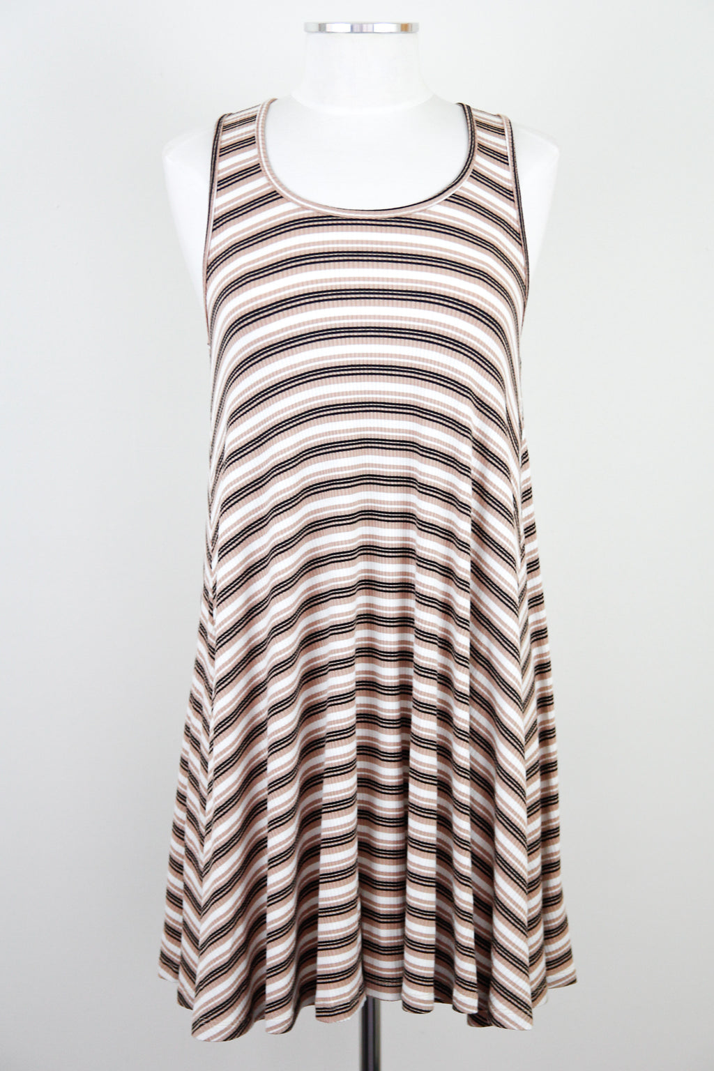 Taupe & Black Striped Swing Dress