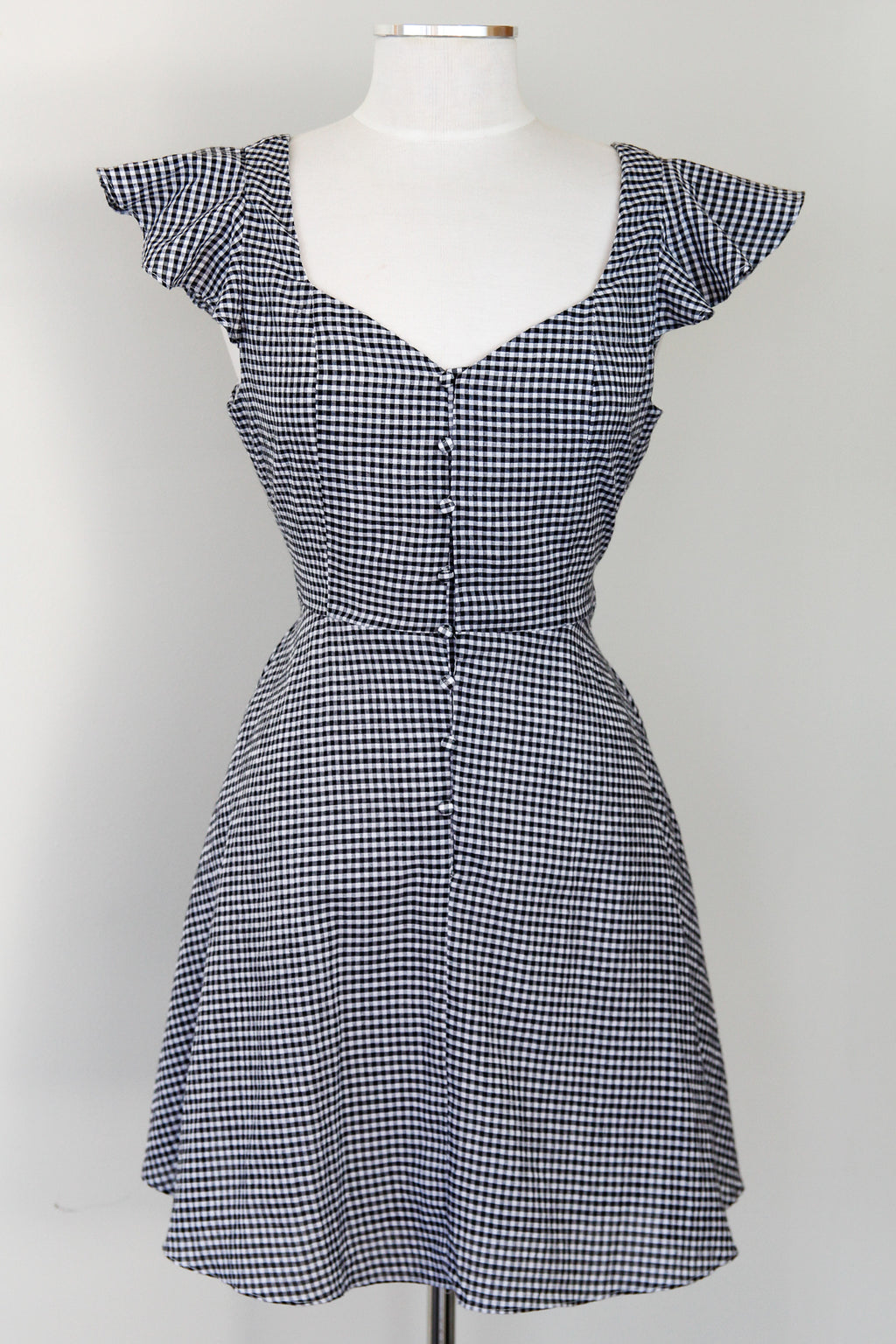 Black Gingham Button Up Dress
