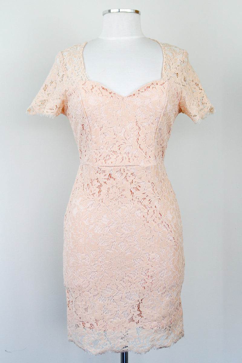 Blush Lace Princess Neckline Dress