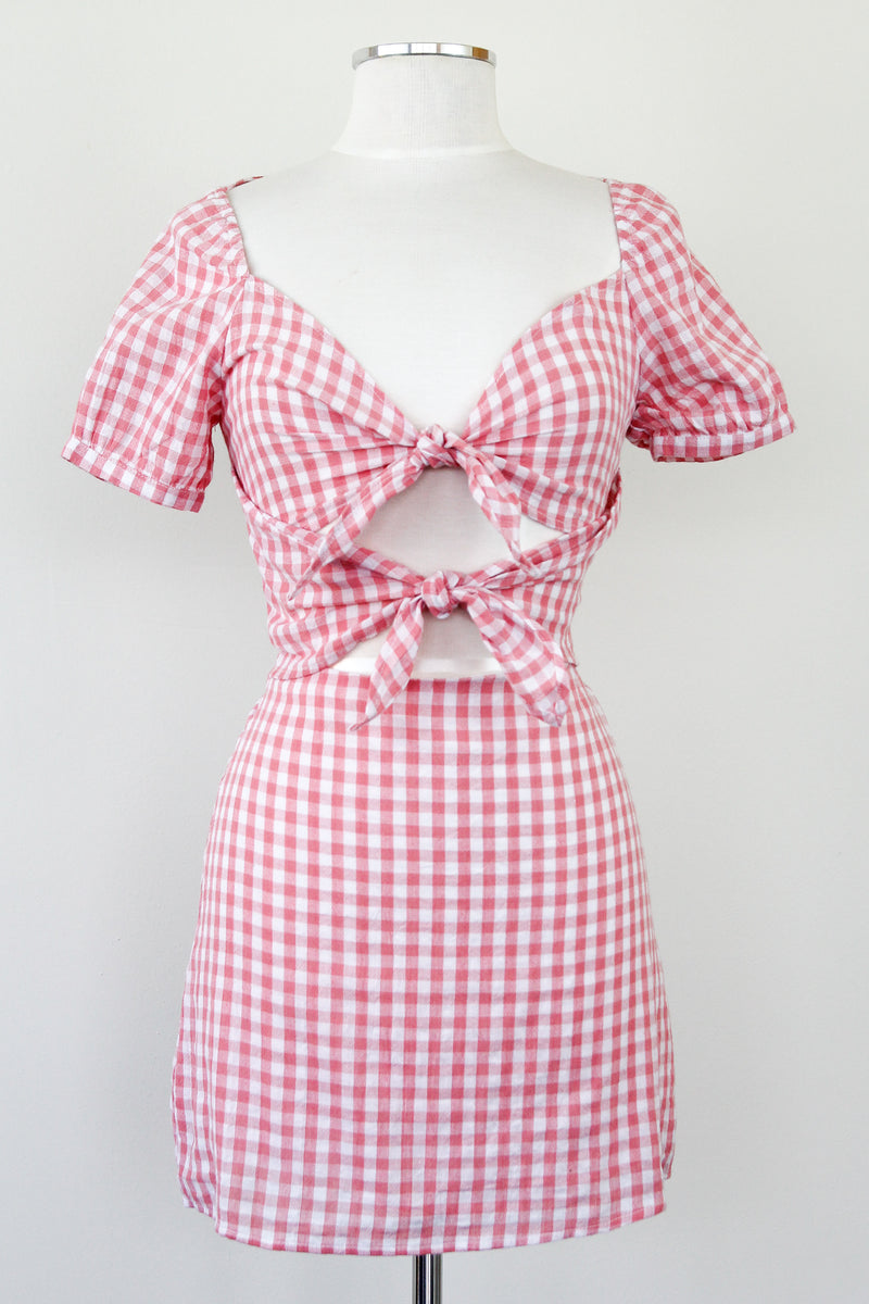 Double Knot Pink Gingham Dress