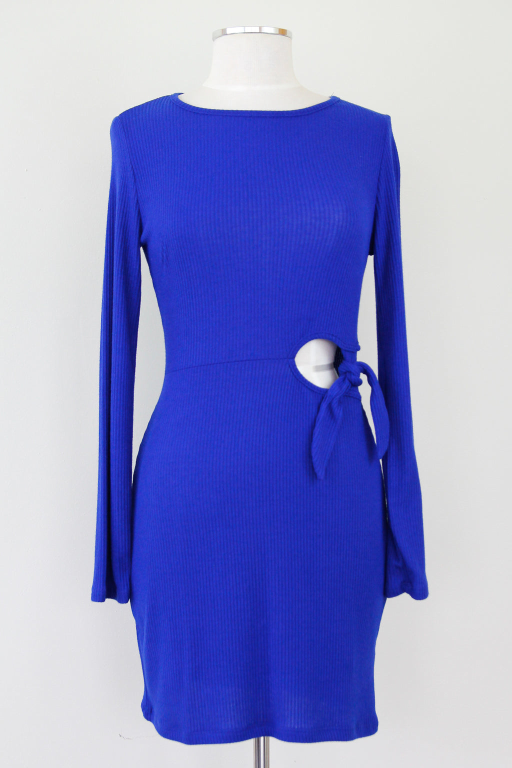 Ribbed Tie Sweater Dress - Cobalt