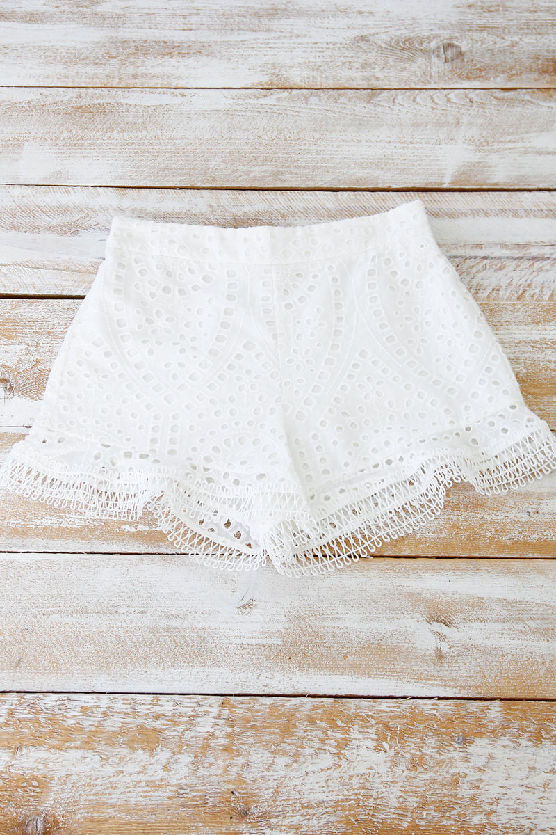 Whimsical White Eyelet Shorts
