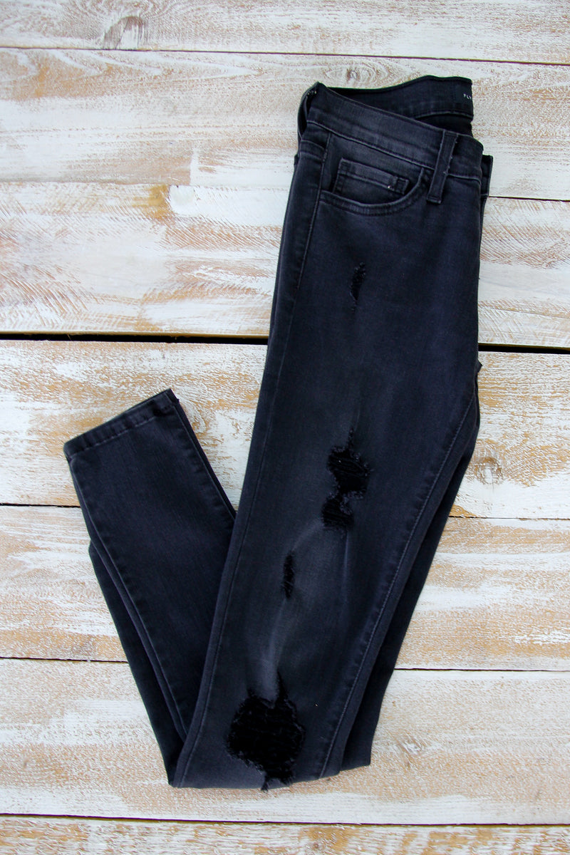 Flying Monkey Onyx Black Distressed Skinny Jeans