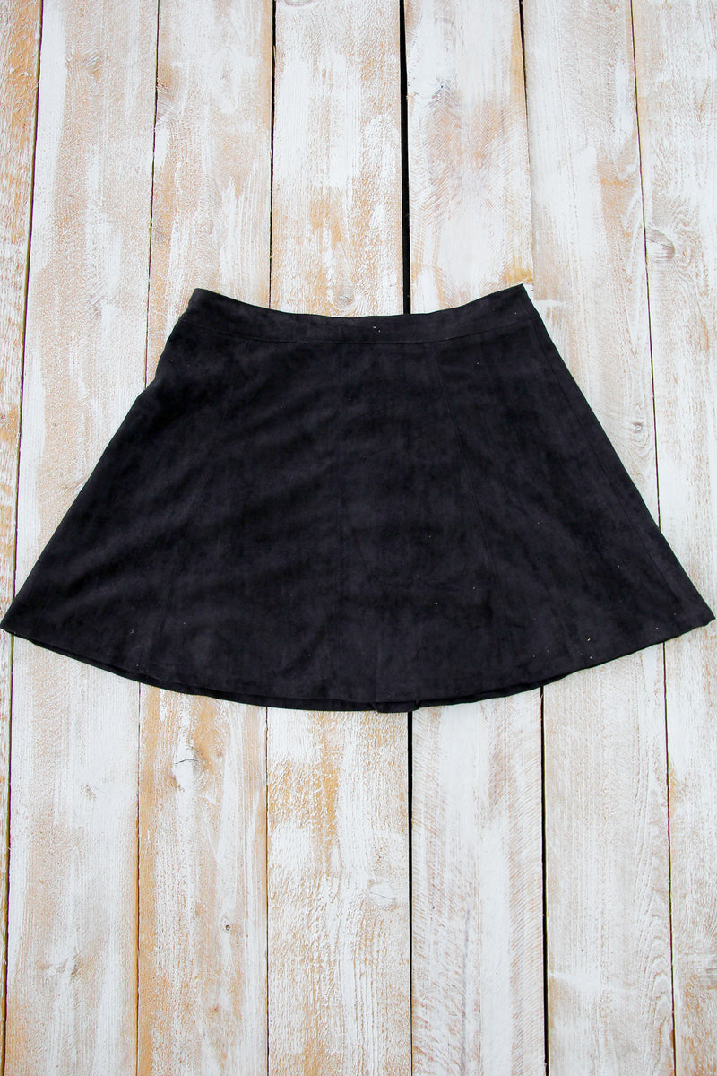 Black Suede Button Front Skirt