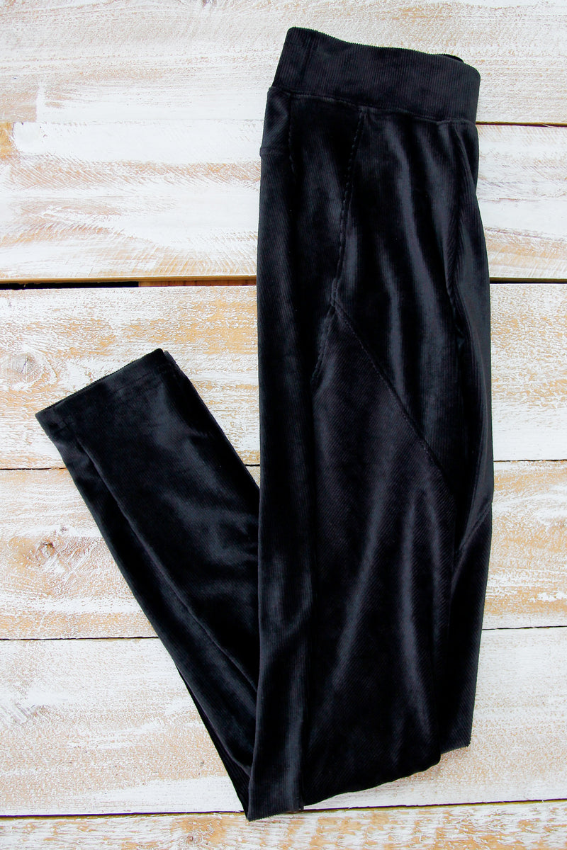 Black Velvet Moto Leggings