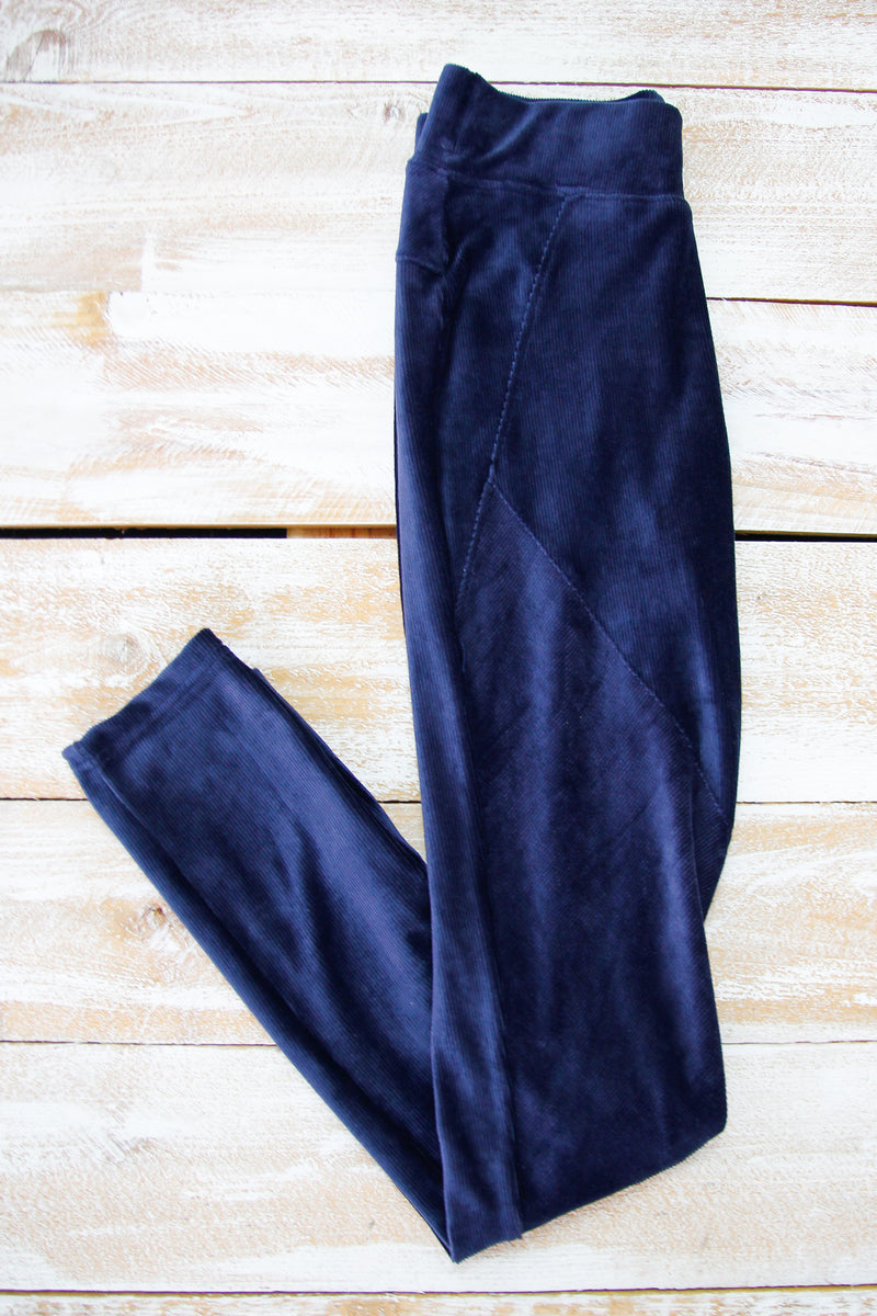 Navy Velvet Moto Leggings