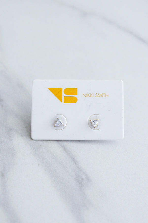 Triangle Diamond Studs- Gold