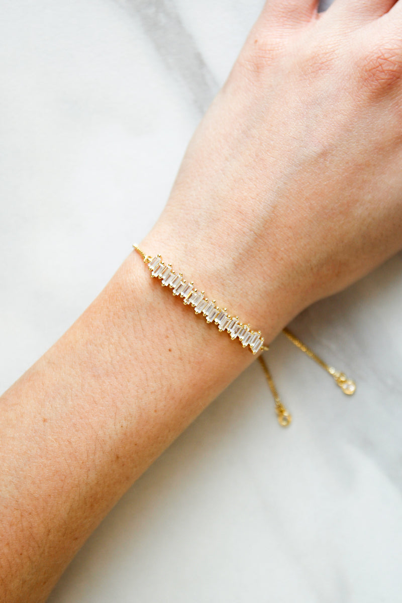 Ice Crystal Slider Bracelet - Gold