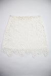 Floral Lace Skirt - White