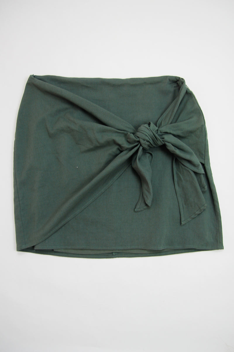 Dusty Green Tie Front Skirt